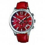Ρολόι CASIO SHEEN Crystal Ladies Red Leather Strap SHE-5020L-4AEF
