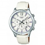 Ρολόι CASIO SHEEN Crystal Ladies White Leather Strap SHE-5020L-7AEF