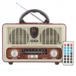 Φορητό Retro Επαναφορτιζόμενο Ραδιόφωνο & Mp3 Player με Τηλεχειριστήριο FM/AM/SW3, USB, SD/ TF CARD, AUX - Meier M-U111