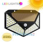 Ηλιακό Solar Ευρυγώνιο Φωτιστικό - Προβολέας Τοίχου 180ᵒ Μοιρών LED με Ανιχνευτή Κίνησης, Αισθητήρα Νυκτός / Φωτοκύτταρο & 2 Λειτουργίες Φωτισμού