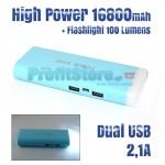 Ισχυρή USB Μπαταρία Φορτιστής Power Bank 16.800mah 2,1A με Φωτιστικό LED 100LM
