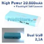 Ισχυρή USB Μπαταρία Φορτιστής Power Bank 20.000mah 2,1A με Φωτιστικό LED 100LM