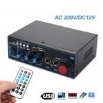 Φορητός Hi-Fi Στέρεο Ραδιοενισχυτής 30W USB/SD/FM MP3 Ιδανικός για KARAOKE Player 220V -12V Αυτοκινήτου - 2 x Jack 6,3mm με Τηλεχειριστήριο