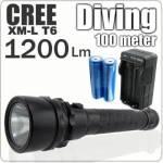 Καταδυτικός Φακός 1.200 Lumen Υπέρ - υψηλής φωτεινότητας CREE LED XM-L T6