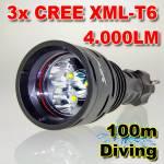 Καταδυτικός Φακός 4000LM Υπέρ-υψηλής φωτεινότητας 3x CREE LED T6