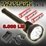 Φακός 6.000 Lumens Yπέρ - υψηλής φωτεινότητας 5x CREE LED XM-L T6