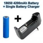 Σετ επαναφορτιζόμενης μπαταρίας 18650 3,7V 4200 mAh και φορτιστή UL-10