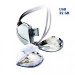 Κόσμημα Γυάλινη Καρδιά USB Flash Drive 32GB