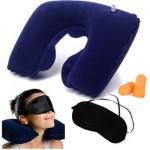 Σετ Ταξιδιού - Φουσκωτό Μαξιλάρι για Στήριξη Αυχένα + Μάσκα Ύπνου + Ωτοασπίδες
