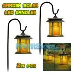 Κρεμαστό Ηλιακό Φωτιστικό Κήπου με Κερί LED Αληθινής Φλόγας - Σετ 2 τμχ.
