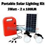 Ηλιακό Πακέτο Φωτισμού με Panel 3W, Μπαταρία με Θύρα USB + 2 Λάμπες Led 100LM