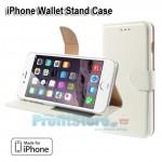 Δερμάτινη Θήκη Πορτοφόλι με Βάση Στήριξης για iPhone 6 - Λευκό