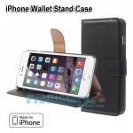 Δερμάτινη Θήκη Πορτοφόλι με Βάση Στήριξης για iPhone 6 Plus - Μαύρο