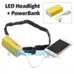 Αδιάβροχος Φακός Κεφαλής LED και Μπαταρία Φορτιστής Κινητών Power Bank