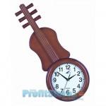 Μεγάλο Ξύλινο Ρολόι Τοίχου Quartz σε σχήμα Βιολιού.
