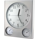 Ρολόι Τοίχου 30 cm με Υγρόμετρο και Θερμόμετρο GRONG QU30