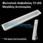 Επαναφορτιζόμενο Φωτιστικό Ασφαλείας με 72 LED Μεγάλης Διάρκειας