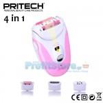 Επαναφορτιζόμενη Γυναικεία Αποτριχωτική & Ξυριστική Μηχανή 4 σε 1 με φωτισμό LED