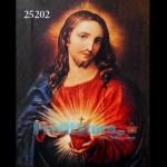 Πίνακας Ζωγραφικής Φωτιζόμενος με LED & Εφέ αληθινής φλόγας Ιησούς Sacred Heart
