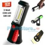 Φακός Εργασίας COB LED 3W - 360o με Μαγνήτη και Γάντζο Στήριξης