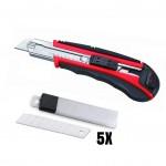 Μαχαίρι Κοπής Φαλτσέτα 18mm με Λαβή από Καουτσούκ & 5 ανταλλακτικές λεπίδες