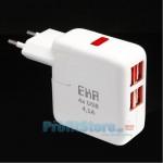 Φορτιστής Ρεύματος με 4 εξόδους USB 4,1A EKA K209