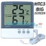 Μεγάλο Ψηφιακό Θερμόμετρο, Υγρόμετρο Εσωτερικού - Εξωτερικού Χώρου Ακριβείας HUM HTC-3