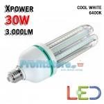 Ισχυρότατος Λαμπτήρας Οικονομίας LED E27 30W 3.000LM COOL 6400K