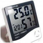 Ρολόι Ξυπνητήρι Θερμόμετρο και μετρητής Υγρασίας με μεγάλη Οθόνη