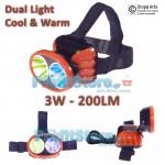 Ισχυρός Φακός Κεφαλής LED 3W - 200LM - Headlight F200 DUAL Light Cool & Warm