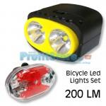 Σετ Ποδηλάτου Φακός Υψηλής Φωτεινότητας LED 200 LM + Πίσω Φως 5x Led