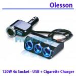 Πολύπριζο Αυτοκινήτου 5 σε 1 με USB & 4 Υποδοχές Αναπτήρα 12/24V - 120W