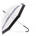 Ομπρέλα Μπαστούνι Πλαστική Διάφανη 82 εκ με Λευκό Καμβά