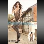 Σέξι Ολόσωμο Καλσόν Σιθρού με Σχέδιο Λαχούρι & Σκισίματα στους Γοφούς 8966 - Sexy Lingerie