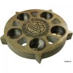 Κηροπήγιο από Σαπουνόπετρα με το Αρχαίο Σύμβολο της Κέλτικης Πεντάλφας