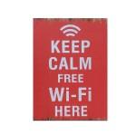 Διακοσμητική Ξύλινη Πινακίδα (30Χ40cm) Keep Calm Wifi