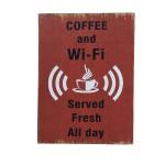 Διακοσμητική Ξύλινη Πινακίδα (30Χ40cm) Coffee Wifi