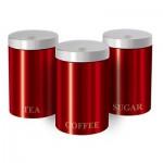 Σετ Μεταλλικών Βάζων 3 Τεμαχίων για Καφέ, Ζάχαρη και Τσάι με Μεταλλικό Καπάκι BH-1343