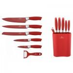 Σετ Μαχαιριών 6 τεμ.σε Κόκκινο Χρώμα με Επιτραπέζια Βάση- Blaumann BL-2074