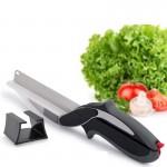 Έξυπνο Ψαλίδι 2 σε 1 με Μαχαίρι, Βάση Κοπής & Ανοξείδωτες Λεπίδες για Λαχανικά & Κρέας