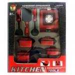 Παιδικά Μαγειρικά Σκεύη - Σετ 8 Τεμαχίων σε Μαύρο/Κόκκινο Χρώμα