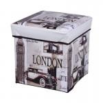 Σκαμπό Πτυσσόμενο με Αποθηκευτικό Χώρο 30x30x30cm με θέμα Λονδίνο