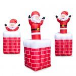 Φουσκωτός Άγιος Βασίλης Γίγας σε Καμινάδα με Κίνηση & Φωτισμό LED