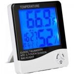 Ρολόι Ξυπνητήρι Θερμόμετρο Υγρασιόμετρο με μεγάλη Οθόνη & Αυτόματο Φωτισμό - HTC-1 Plus