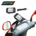Αδιάβροχη Βάση - Θήκη Καθρέπτη Μηχανής για Κινητά, Smartphone, GPS & iPhone έως 6,8in