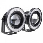 Προβολάκια Ομίχλης LED COB DRL 64mm - Φώτα Ημέρας Αυτοκινήτου ANGEL EYES R500