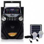 Φορητό Ηχοσύστημα USB/SD Mp3 Radio Player με Ηλιακό Κιτ Φωτισμού & Φόρτισης & 2 Λάμπες LED