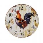Ξύλινο Ρολόι Τοίχου Vintage QUARTZ 30cm ART433-3-ROOSTER