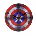 Ξύλινο Ρολόι Τοίχου Vintage QUARTZ 30cm ART433-4 CAPTAIN AMERICA