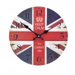 Ξύλινο Ρολόι Τοίχου Vintage 30cm ART433-12 KEEP CALM UK